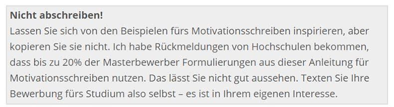 Tipp Motivationsschreiben Stipendium